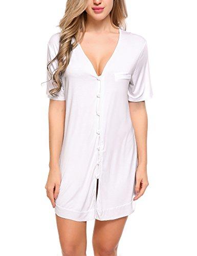 Avidlove Damen Viktorianisch Nachthemd T-shirt Luxus Nachtwäsche- Gr. L, Kurzarm 4: Weiß