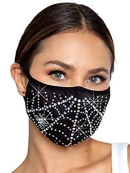 Leg Avenue Women s Rhinestone Fashionable Spider Web Halloween Face Mask