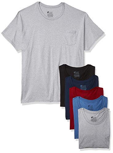 Hanes mens Comfortsoft Tagless Pocket T's, 6 Pack Underwear, Assorted, X-Large US