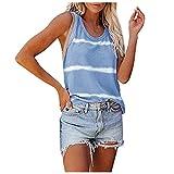 WANGTIANXUE Camiseta interior sin mangas para mujer, de verano, con cuello cuadrado, a rayas, para adolescentes, chicas, sin mangas, bonita blusa para mujer B-azul. L