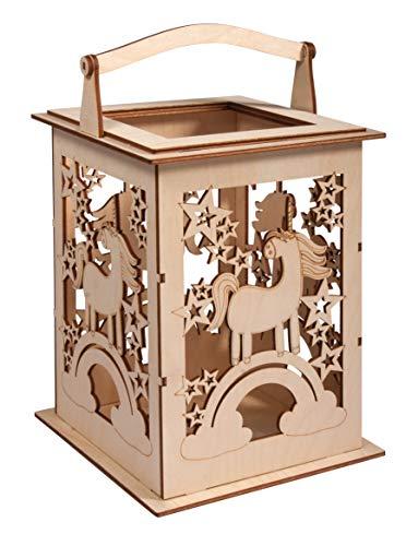 Rayher 62892505 Holz Laterne Einhorn, mit Griff, 15,3 x 15,3 x 26,5cm, Holzbausatz, 15-tlg.;Windlicht, für LED-Kerze, Lichterkette