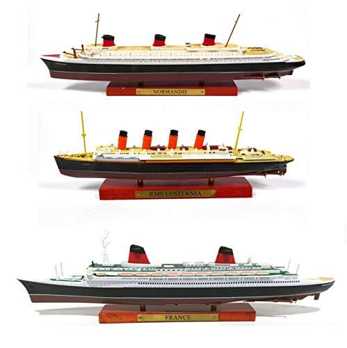 OPO 10 - Lot de 3 Paquebots transatlantiques Le France + Le Normandie + Le Lusitania, Collection Paquebot du Monde, Atlas 1:1250 (ref 003+005+006)