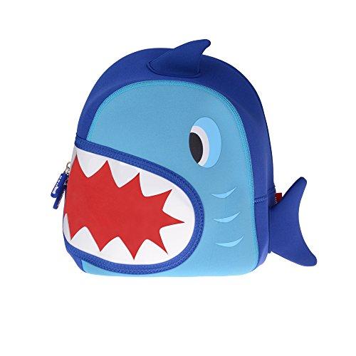 Georgie Porgy Karikatur Kind Rucksack 3D Wasserdichtes Schultaschen für Mädchen Jungen Kleinkinder Hai Blau