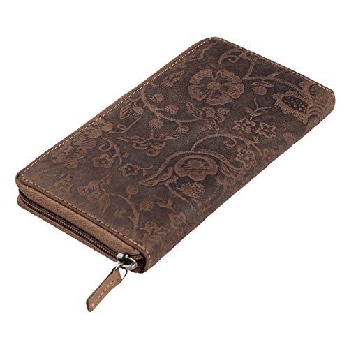 STILORD 'Aurelia' Cartera de Mujer de Piel Vintage Monedero o portamonedas marrón para Tarjetas DNI Pasaporte con Estampado de Flores de auténtico Cuero, Color:Naturaleza - marrón