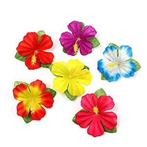 Floral Decor Mini Artificial Flower Hibiscus Flower Turtle Leaf Artificial Leaf Artificial Flower for Table Board Mat Tropical Hawaiian Party – (Color: Mix Hibiscus; Size: 10Pcs)