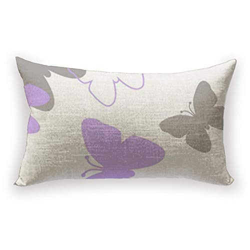 Hustor Funda de almohada para sofá, cama, coche, 30,5 x 50,8 cm, diseño de mariposas, color morado y gris lavanda