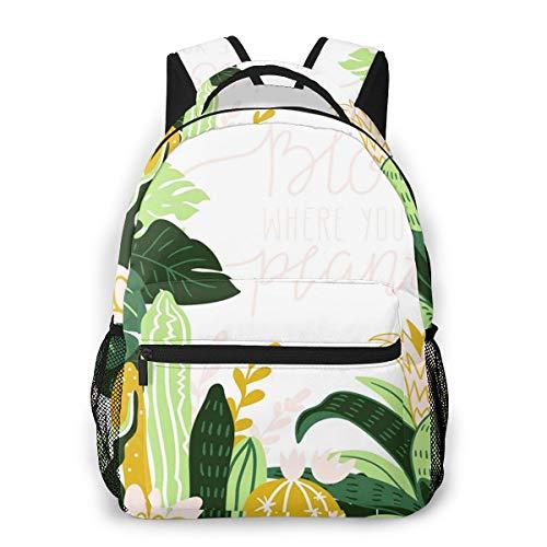Laptop Rucksack Schulrucksack Tropische Zimmerpflanzen N, 14 Zoll Reise Daypack Wasserdicht für Arbeit Business Schule Männer Frauen