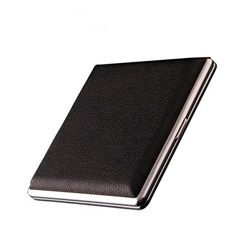 1 étui à cigarettes en cuir et métal pouvant contenir 20 cigarettes (Noir)