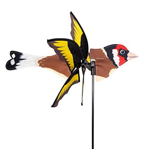 CIM Windspiel - Petite 2in1 STIEGLITZ - Windrad Ø28x43x85cm - Windmühle mit Standstab oder Mobile mit Hängeset