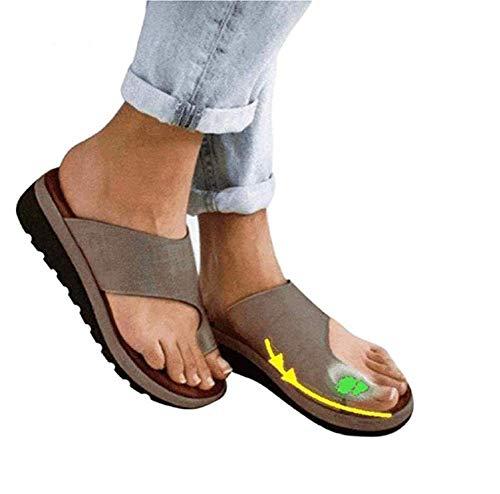 Sandales Plates Femmes Confortables Orthopedique Chaussures Plateforme - 2020 Newest Été Sandales Femmes Sandales Plates Toe T-Sangle Comfy Semi Trailer Sandales Chaussures de Plage (Style A, 39)