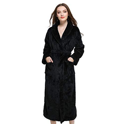Minikimi Badjas, uniseks, voor dames en heren, grote maten, ochtendjas, lange fleece, dikke herfst winter, modieus nachtgoed, hoogwaardig nachtgoed