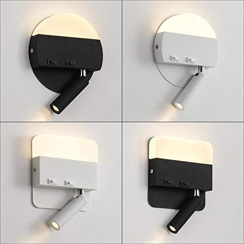 HJKM persoonlijkheid, creativiteit, multifunctioneel, wandlamp, stijlvolle en eenvoudige vorm, elegant en uniek, minder energieverbruik door LED-lichtbron en goed lichteffect. C Vierkant wit
