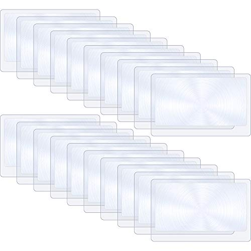 20 Pieces Thin Fresnel Lens Pocket Size Magnifier Lenses Credit Card Magnifier for Reading or Fire Starter