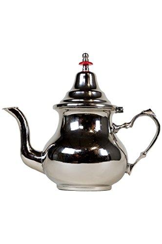 Marokkanische Teekanne aus Messing versilbert 0,8l mit Sieb und Griff | Orientalische Kanne Schlicht 800ml silberfarbig mit Deckel