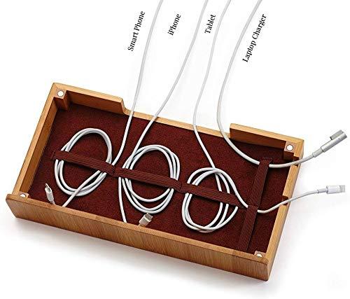 Idéal en Bambou utile Stuff Multi-Device Station de Charge et Cordon Organisateur