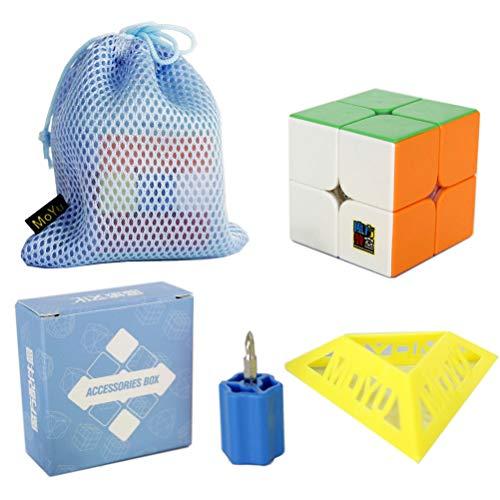 Moyu OJIN MoFang JiaoShi 2020 RS2M 2x2x2 Cube Cubing Classroom 2020 RS2M 2x2 MFRS2 M Cube Puzzle con un trípode de Cubo y una Bolsa de Cubo (Multicolor)