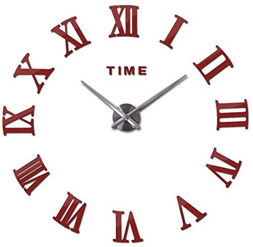 YJGYMZ Klok 90cm 3d Grote Acryl Spiegel Wandklok Diy Quartz Horloge Stilleven Klokken Moderne Home Decoratie Woonkamer Stickers