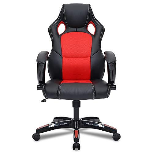 Bürostuhl Esports Game Chair, Chefsessel mit hoher Rückenlehne, Verstellbarer Ledersessel aus PU-Leder, drehbarer Rollstuhl mit Armlehnen und Rädern
