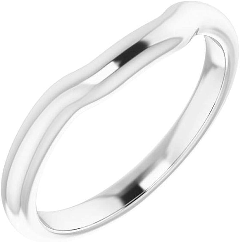 Solid Platinum Curved Notched Wedding Band for 8x8mm Asscher Ring Guard Enhancer - Size 7