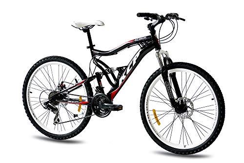 KCP 26 Zoll Mountainbike Fahrrad - MTB Attack schwarz - Vollfederung Mountain Bike Unisex für Herren, Damen oder Jungen, MTB Fully mit 21 Gang Shimano Schaltung und Zwei Scheibenbremsen