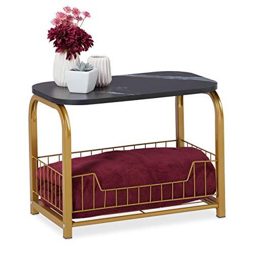 Relaxdays Beistelltisch mit Aufbewahrung, Tischplatte in Marmor-Optik, Metallgestell, HBT: 38 x 50 x 30 cm, schwarz-Gold
