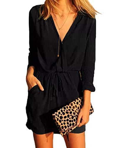 YOINS Jumpsuit Damen Elegant V-Ausschnitt Sexy Kleid Langarm Overall Einteiler Damen mit Bindegürtel Kleid-schwarz EU32-34