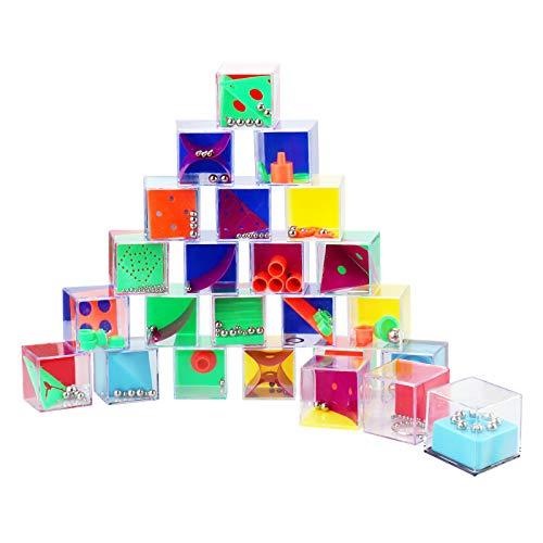 WELLGRO 24er Set Geduldsspiele - je ca. 4 x 4 x 4 cm (LxBxH), Geschicklichkeitsspiel mit Kugeln, Mitgebsel