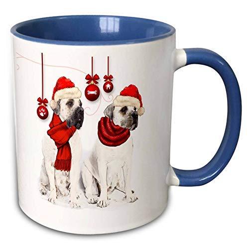 Doreen Erhardt Honden - Huisdier liefhebber Kerstmis Bordeaux Honden Met Rode Hoeden En Ornamenten - 11Oz Tweetoon Blauwe Mok