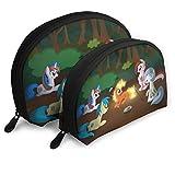 XCNGG My Rainbow Little Pony Bolsa de maquillaje con forma de concha Bolsa de embrague portátil Monedero Organizador de bolsos multifunción para mujeres Viajes Bolsas de almacenamiento con cremallera