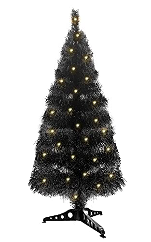 TURNMEON 3 Feet Pre-lit Artificial Halloween Black Tree Decoration with 50 LED Lights Timer 8 Flashing Mode Artificial Full Tree Halloween Decor Indoor Outdoor Holiday Party Christmas Tree, Warm White