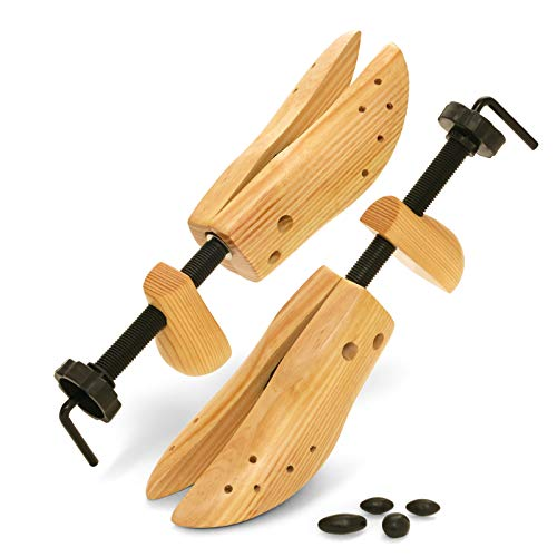 Plixio Shoe Stretcher Women and Men's Shoe Widener - Wooden Expander for Wide Feet, Bunions or Calluses (2 Pack)