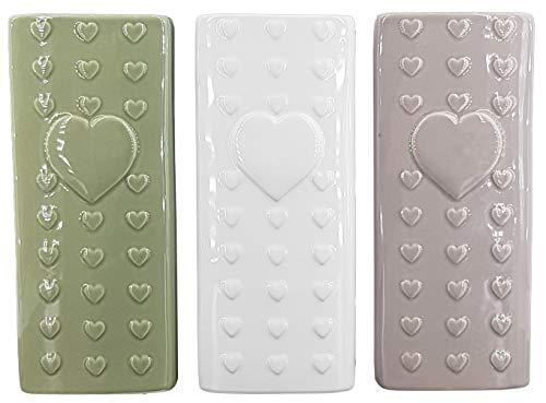 Hochwertige Luftbefeuchter 3-teiliges Set - Füllmenge 230ml - für Heizung aus Keramik - glänzend glasiert - Luftreiniger Wasserverdunster Verdamper verdunster Klima (3er Set Herz)