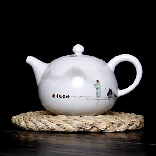 Théière En Céramique Bouilloire Théière En Grès Four Peint À La Main Pot Merveilleux Zen Pot Théière Bouilloire En Céramique Service À Thé En Porcelaine Blanche Kung Fu Single Pot 230Ml