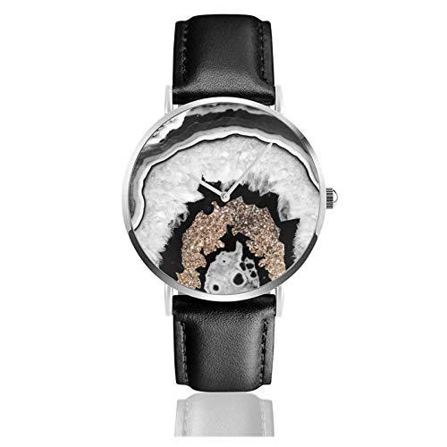 Ágata blanca y negra gris con brillo dorado Decoración de gemas Reloj artístico Movimiento de cuarzo Correa de reloj de cuero impermeab