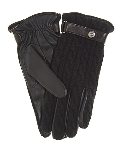 Fratelli Orsini Men's Italian Cable Knit Cashmere and Leather Winter Gloves Size 9 Color Black
