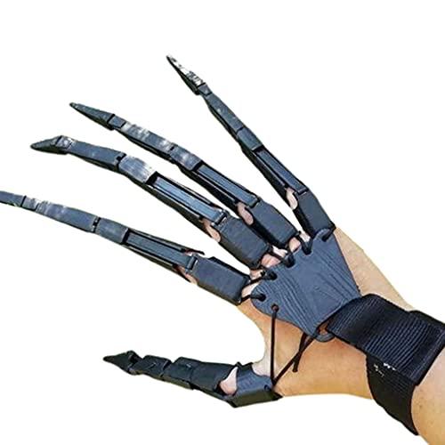 PHILSP Guantes de extensión de dedos articulados de Halloween, Extensor de garras de Extensión usable por 3D Impreso Halloween Cosplay Prop Decoraciones Negro 2