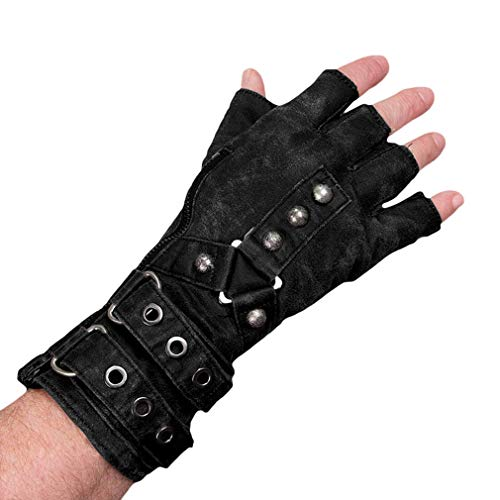 Herren Kunstleder Handschuhe Gothic Punk Vintage Fingerlose Handschuhe mit Nieten und Reißverschluss Hip-Hop Motorrad Handschuhe