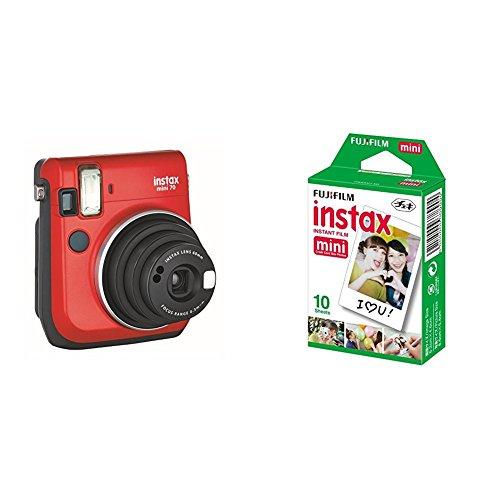 Fujifilm Instax Mini 70 - Cámara analógica instantánea (ISO 800, 0.37x, 60 mm, 1:12.7, flash automático, modo autorretrato, exposición automática, temporizador, modo macro), rojo pasión + 1 paquete de películas fotográficas instantáneas (10 hojas)