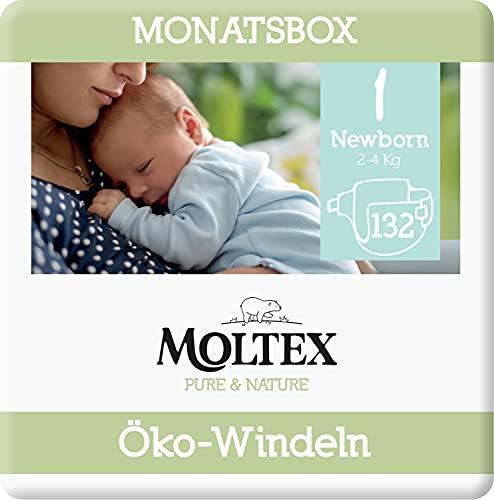 Moltex Pure & Nature Öko Windeln Größe 1 Newborn (2-5 kg) Monatsbox - 132 Bio Windeln
