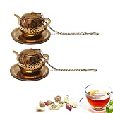 Tea Strainer 2 pcs Tea Infuser Loose Leaf Tea Infusers Gold Color Tea Filter with Drip Dray and Chain Teapot Shape Stainless Steel Tea Balls for Loose Leaf Tea, Spices & Seasonings