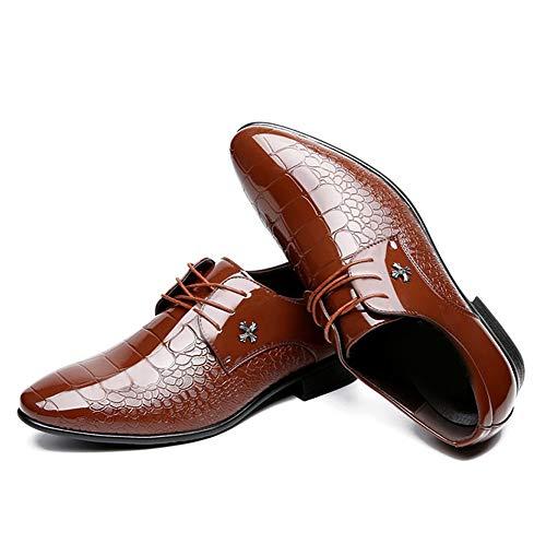 YONGFLY Oxford-Business-Schuhe mit spitzen Zehen aus schwarzem Leder und Derby-Spitze aus spitzem Lackleder, Hochzeitsanzug, bedruckt Four Seasons Brown Red Blue 37-48EU,Braun,42