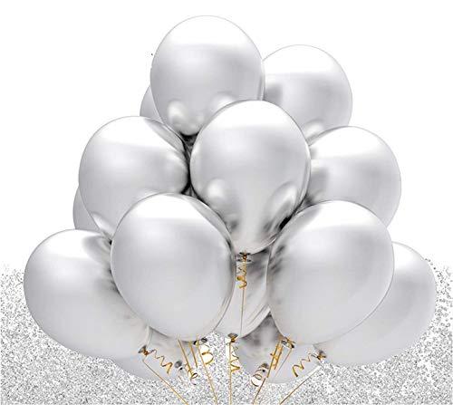 TK Gruppe Timo Klingler 100x Metallic Silber - 100% Bio Luftballons Ballons Ø 35 cm für Helium & Luft - Dekoration Hochzeit Hochzeitsdeko (100x Silber)
