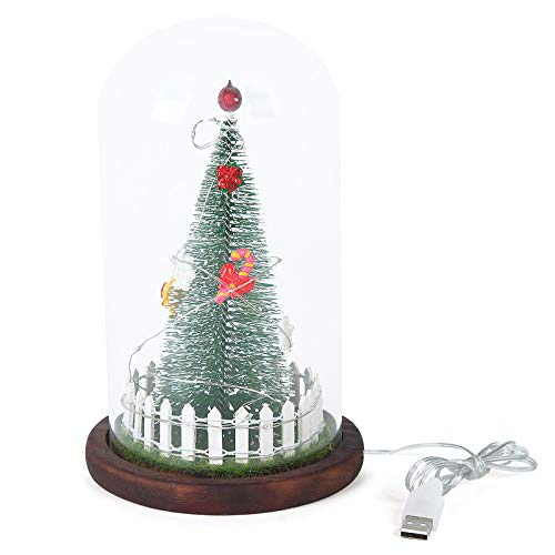 HXXXIN Creative Gift Decoration Ornaments, Christmas Ornaments Christmas LED Lights Decoration, Transparent Glass Cover Simulation Christmas Tree