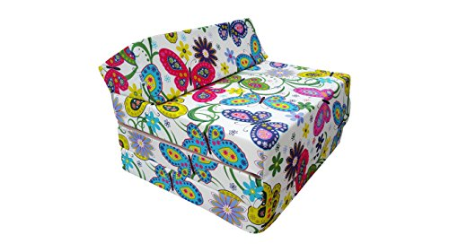 Natalia Spzoo Fold Out Guest Chair Z Bed Futon Sofa for Adult and Kids folding mattress 200 x 70 cm polycotton (Garden)