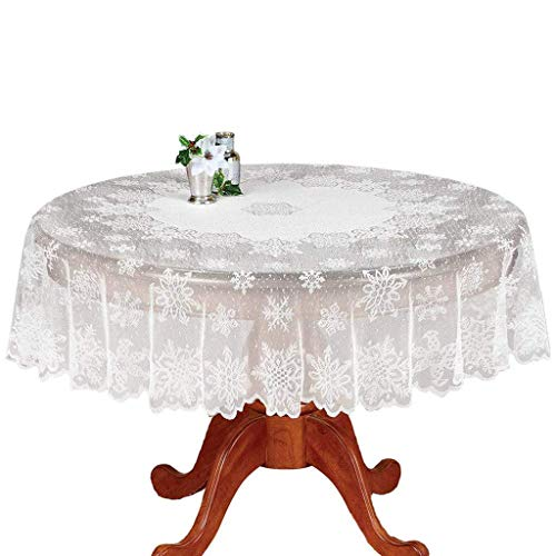 DoubleWood Christmas Tablecloth White Floral Lace Banquet Round Tablecloths for Holiday Festival Party Home Decorations Baby Showers Table Covers for Kitchen Tables (White Snowflake, Round 70 Inches)