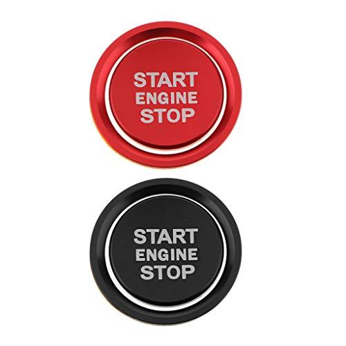 Toygogo 2 Juegos de Cubierta de Cromo Rojo con Botón de Arranque Y Parada de Motor de Ajuste Completo para Audi Q5