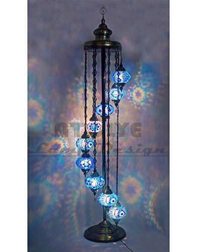 LXGANG Lámpara de pie Increíble turca Lámpara de pie, mosaico marroquí hecha a mano del vidrio manchado de pie Lámpara de la vendimia, lámpara turco (Lampshade Color : BLUE DIFFERENT)