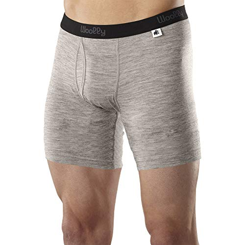 Woolly Clothing Men's Merino Wool Long Drop Boxer Brief - Everyday Weight - Wicking Breathable Anti-Odor S Gry Grey