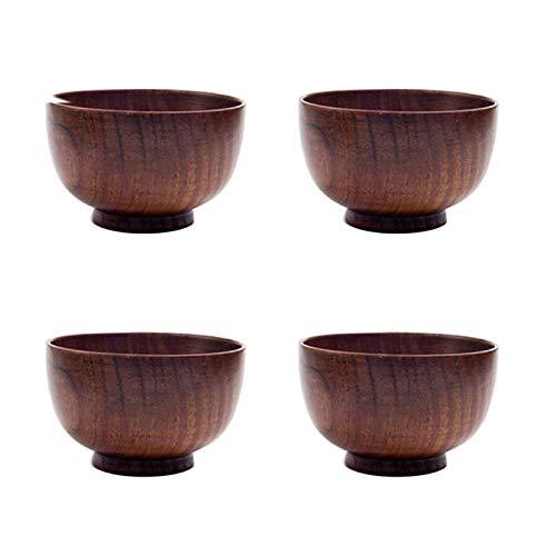 POHOVE 4Pcs Bois Bol, Mini Style Japonais Rond Bois Solide Bol, Anti- Scalding Portion Vaisselle pour Soupe Condiments, Dip Sauce, Noix, Bonbon, Fruits, Apéritif, Collations
