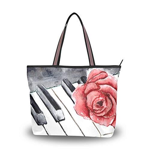 NaiiaN Geldbörse Shopping Umhängetaschen für Frauen Mädchen Damen Student Einkaufstasche Handtaschen Leichter Riemen Red Rose Piano
